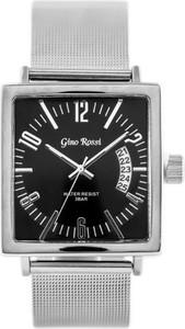 ZEGAREK MĘSKI GINO ROSSI - 6810B (zg037a) silver/black + BOX - Srebrny