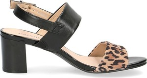 Sandały Caprice z klamrami ze skóry na obcasie