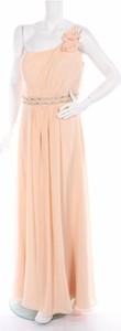Różowa sukienka Niente bez rękawów z asymetrycznym dekoltem maxi