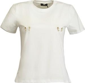 T-shirt Elisabetta Franchi z okrągłym dekoltem z krótkim rękawem