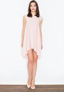 Różowa sukienka Figl z okrągłym dekoltem asymetryczna midi