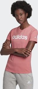 Różowa bluzka Adidas z okrągłym dekoltem z krótkim rękawem