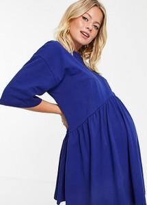 ASOS DESIGN Maternity – Granatowa luźna sukienka mini z obniżoną talią-Granatowy