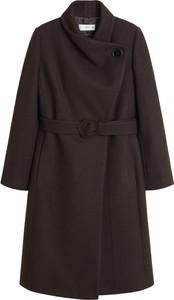 Brązowy płaszcz Mango w stylu casual z wełny