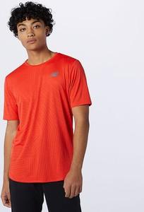 T-shirt New Balance w sportowym stylu z krótkim rękawem z żakardu