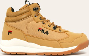 Brązowe buty zimowe Fila ze skóry