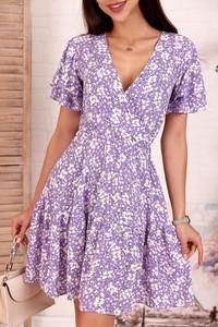 Fioletowa sukienka IVET mini z krótkim rękawem