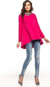Różowa bluzka Tessita z bawełny z długim rękawem