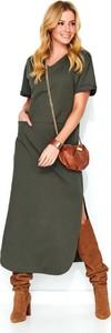 Sukienka Makadamia w stylu casual prosta z dekoltem w kształcie litery v