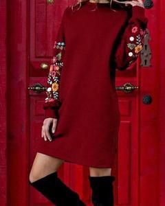 Czerwona sukienka Kendallme z długim rękawem z okrągłym dekoltem