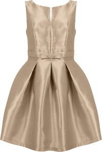 Złota sukienka stylovesukienki mini rozkloszowana bez rękawów