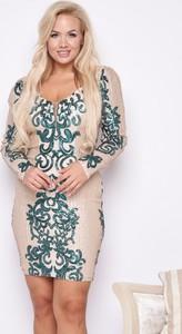 Zielona sukienka Ella Boutique z dekoltem w kształcie litery v mini