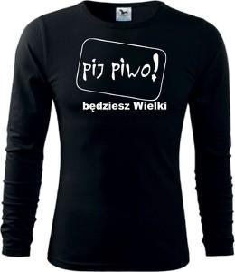 Czarna koszulka z długim rękawem TopKoszulki.pl w młodzieżowym stylu z długim rękawem