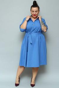 Niebieska sukienka KARKO midi szmizjerka