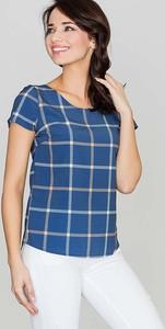 Niebieska bluzka Katrus w stylu casual z krótkim rękawem