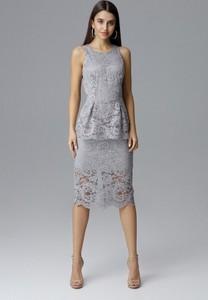 Niebieska sukienka Figl bez rękawów w stylu casual midi
