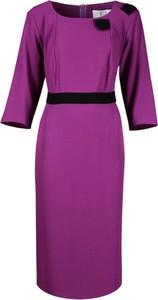 Fioletowa sukienka Fokus z tkaniny z długim rękawem
