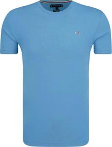 dd62b761541c5 Niebieski t-shirt Tommy Hilfiger z bawełny w stylu casual z krótkim rękawem