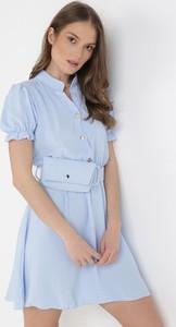 Niebieska sukienka born2be mini z kołnierzykiem trapezowa