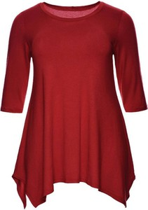 Czerwona tunika modneduzerozmiary.pl w stylu casual