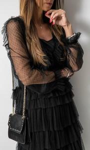 Czarna sukienka Fashion Manufacturer rozkloszowana w stylu glamour z długim rękawem
