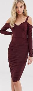 Fioletowa sukienka Ax Paris bandażowa z długim rękawem
