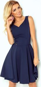 Niebieska sukienka NUMOCO dla puszystych mini bez rękawów