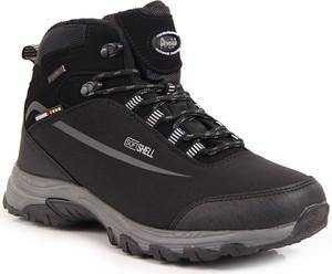 Czarne buty trekkingowe American Club z płaską podeszwą