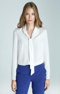 Bluzka Nife w stylu klasycznym z długim rękawem ze sznurowanym dekoltem