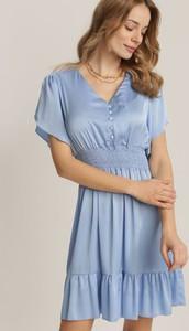 Niebieska sukienka Renee z krótkim rękawem w stylu casual mini