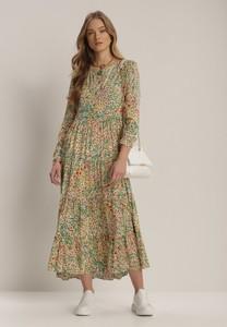 Zielona sukienka Renee z okrągłym dekoltem maxi