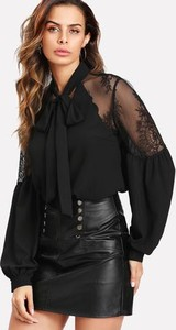 Czarna bluzka Bien Fashion ze sznurowanym dekoltem z długim rękawem