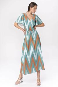 Sukienka Nife maxi z dekoltem w kształcie litery v z krótkim rękawem