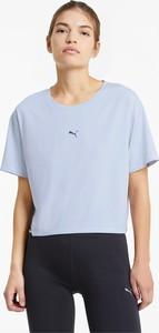 Niebieska bluzka Puma z okrągłym dekoltem z dżerseju z krótkim rękawem