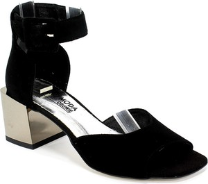 Sandały Euro Moda na obcasie ze skóry