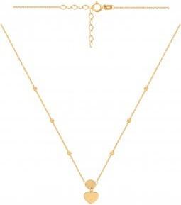Lovrin Złoty naszyjnik 585 z przewleczonymi kuleczkami i doczepionym kółeczkiem i serduszkiem