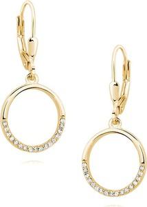 Valerio Eleganckie pozłacane srebrne wiszące kolczyki celebrytki kółka circle ring cyrkonie srebro 925 Z1456D_G