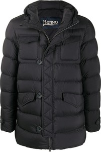 Czarny płaszcz męski Herno