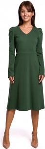 Zielona sukienka Be z długim rękawem