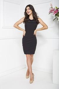 Czarna sukienka Marcelini z szyfonu prosta