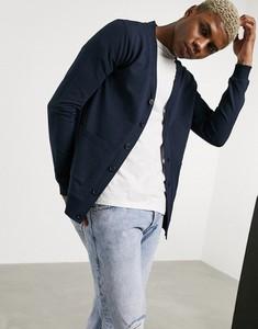 Granatowy sweter Asos z dżerseju