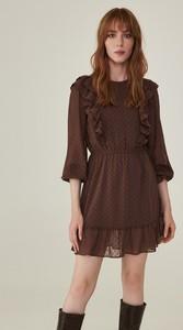Brązowa sukienka Sinsay mini w stylu casual z tkaniny