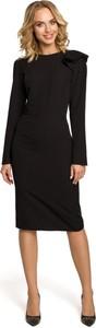 Sukienka Made Of Emotion z długim rękawem midi z okrągłym dekoltem