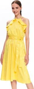 Żółta sukienka Top Secret z dekoltem halter z żakardu w stylu casual