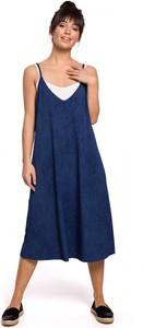 Niebieska sukienka BeWear midi w stylu casual na ramiączkach