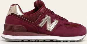 Czerwone buty sportowe New Balance sznurowane ze skóry