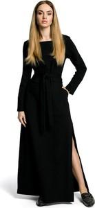 Czarna sukienka MOE w stylu casual z okrągłym dekoltem