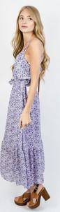 Fioletowa sukienka Olika maxi w stylu boho na ramiączkach