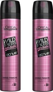 L'Oreal Paris Loreal Zestaw Wild Stylers 60's Babe Savage Panache | Pudrowy spray dodający objętości 250ml x2 - Wysyłka w 24H!