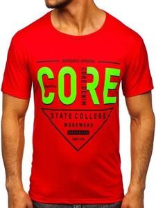 Czerwony t-shirt Denley z nadrukiem z bawełny